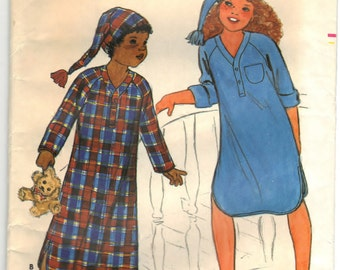 Butterick 6849 Pattern Children Nightshirt And Cap