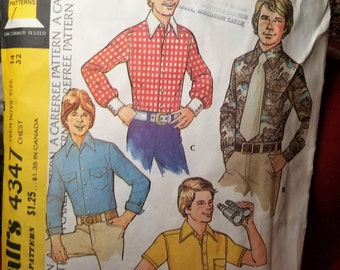 McCalls 4347 Pattern Boys Shirt Size 14 Chest 32 UNCUT