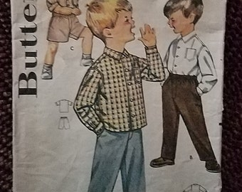 Butterick 2122 Pattern Boys Pants And Sport Shirt Vintage Sz 2 CUT