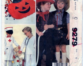 McCalls 9279 Pattern Childrens, Boys And Girls Costumes And Bag CUT