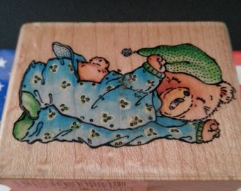 Bedtime Bear A781D Wood Mount Rubber Stamp Stampede Rubber