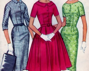 McCalls 5597 Pattern Misses and Junior Dress with Slim or Full Skirt Size 18 B38 CUT