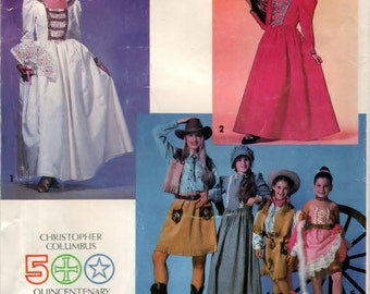 Girls Historical Costumes Size A (7 - 14) - UNCUT Simplicity 0614 Pattern OOP/HTF