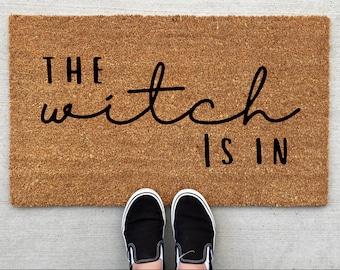 The Witch Is In doormat, Halloween Doormat, pumpkin, fall decor, personalized doormat, funny doormat, welcome mat, front doormat, fall