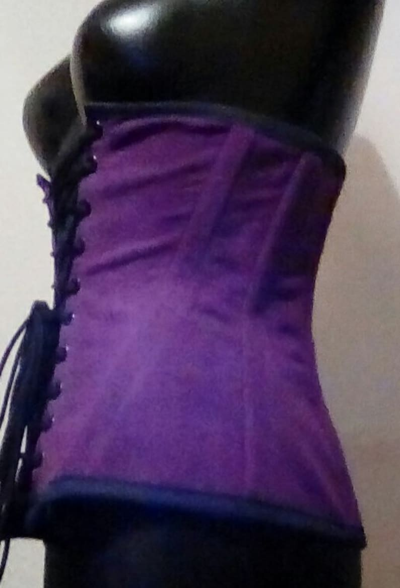 Purple Coutil Herring bone Corset Front Lacing Under bust Style Corset Tight lacing Waist Training