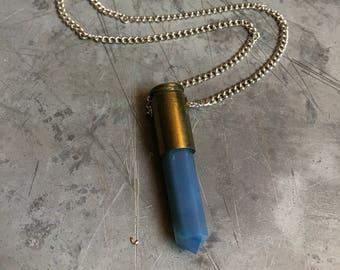 9mm Luger Bullet Crystal Necklace