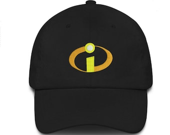 The incredibles embroidered black cap hook and loop closure kids movie  animation 2f421746c3c