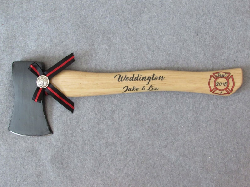 Personalized Wedding Firefighter Axe With Thin Red image 0