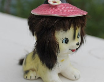 Vintage Adorable Fur Trimmed California Creations Puppy Figurine by Bradley Japan