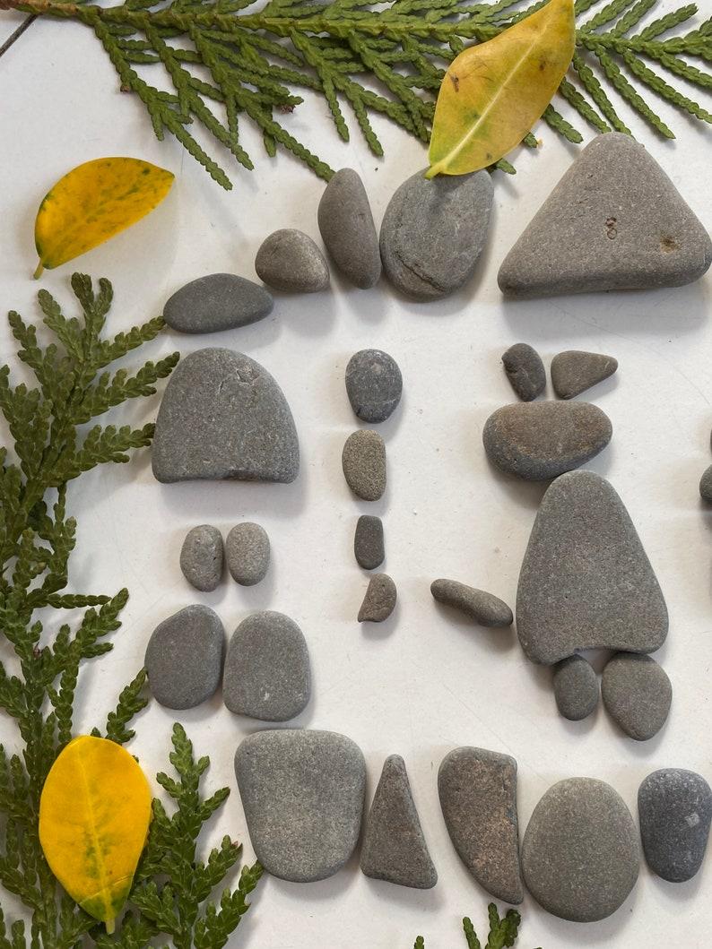 60 Flat Small Grey Pebble Art DIY Kit Cats Dogs Family Inukshuk