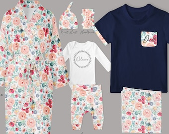 Baby Girl Coming Home Outfit // Mom Robe // Dad Shirt // Pastel Spring Floral Leggings, Personalized Bodysuit, Knot Hat, Swaddle