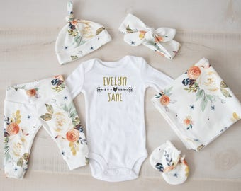 Baby Girl Coming Home Outfit, baby shower Earth Tone Watercolor Floral  Pants, Tie Headband, Knot Hat, Personalized Bodysuit, Swaddle, Mitts