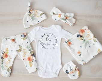 Baby Girl Coming Home Outfit // Fall Coming Home Outfit // Earthtone Floral Pants, Headband, Knot Hat, Personalized Bodysuit, Swaddle, Mitts
