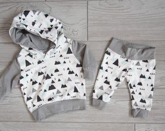Baby Boy Toddler Boy Clothing, Hoodie and Pants Set: Organic Cotton Mountains