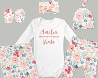 Baby Girl Coming Home Outfit // Spring Coming Home Outfit // Pastel Floral Pants, Headband, Knot Hat, Personalized Bodysuit, Swaddle, Mitts