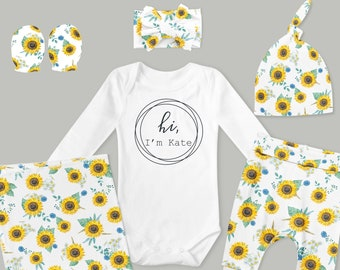 Baby Girl Coming Home Outfit // Summer Coming Home Outfit // Sunflower Pants, Headband, Knot Hat, Personalized Bodysuit, Swaddle, Mitts