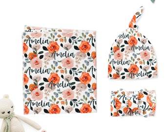 Baby Girl Swaddle Set // Baby Girl Coming Home Outfit // Name Blanket // Organic Cotton // Personalized Floral Swaddle, Headband, Knot Hat