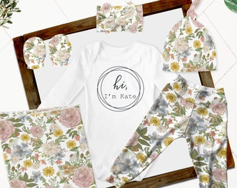 Baby Girl Coming Home Outfit // Fall Coming Home Outfit // Blush and Olive Floral Pants, Headband, Hat, Personalized Bodysuit, Swaddle