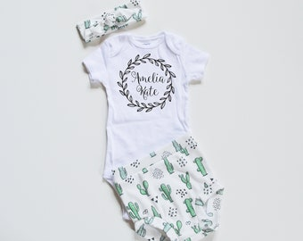 be6b262b0 Baby Girl Coming Home Outfit/Summer Clothing: Personalized Bodysuit, Cactus  Organic Cotton High Waisted Bummies Shorts and Headband