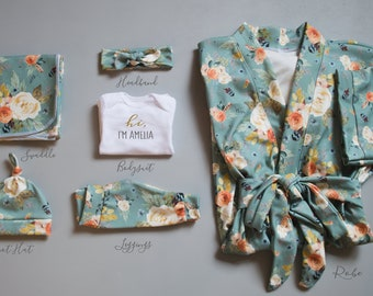 Maternity Robe// Delivery Robe// Postpartum Robe// Mommy and Me Robe and Swaddle// Sage Floral Robe and Coming Home Outfit //Organic Cotton