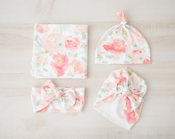 bfbb0fe3c2a Baby Girl Coming Home Outfit   Photo prop  Organic Cotton Peonies Swaddle  and Knot Top Hat OR Swaddle and Headband OR Swaddle and Turban
