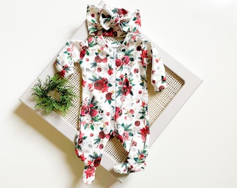 Baby Girl Christmas Coming Home Outfit // Newborn Footies // Organic Cotton Poinsettia Footies, Tie Headband