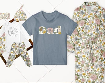 Baby Girl Coming Home Outfit // Mom Robe // Dad Shirt // Olive Blush Vintage Floral  // Baby Leggings, Personalized Bodysuit, Headband