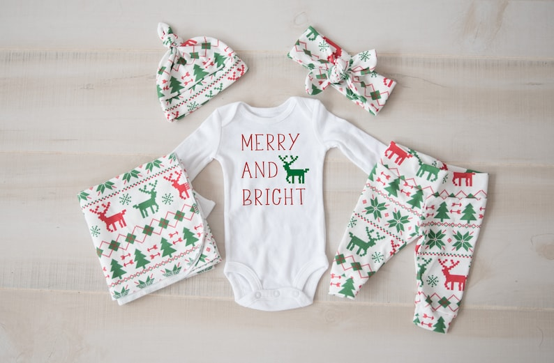 e592e3e7b Gender Neutral Christmas Baby Boy, Baby Girl Coming Home Outfit: Organic  Ugly Sweater, Fair isle reindeer pants, hat, headband, swaddle