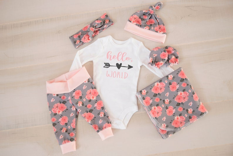 Baby Girl Coming Home Outfit: CHOOSE COMBO Pink Hello World image 0