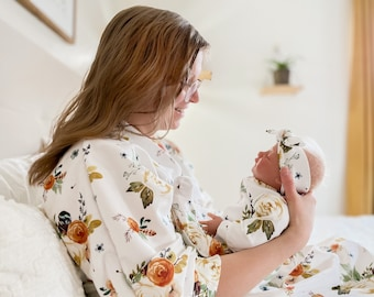 Mommy Robe // Baby Girl Coming Home Outfit // Postpartum Robe // Mommy and Me Earthtone Robe Footies, Headband and Swaddle