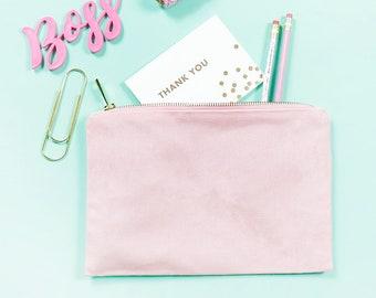 PLAIN - 100% Cotton Canvas Bag / Beauty Make-Up Pencil Case Tote Zipper Minimal Black White Pink Natural Lined Storage Bag Gift