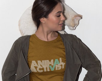 Animal Activist - Retro Unisex T-Shirt Mens Womens Tee Vegan Vegetarian Inspirational Animal Rights Activism Shirts Gift