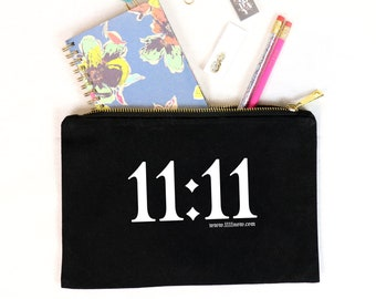 11:11 - Canvas Cotton Bag Cosmetics Beauty Make-Up Pencil Case Tote Zipper Inspiration New Age Gratitude Eleven Numerology Accessories Gift