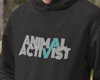 Animal Activist - Unisex Hooded Sweatshirt Vegan Hoodie Vegetarian Animal Rights Activism Retro Graphic Gift 11:11