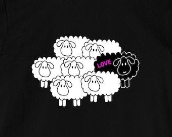 Black Sheep (Love) - Unisex T-Shirt Inspirational New Age Rebel Tee Gift 11:11