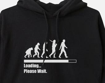 Loading, Please Wait - Unisex Hooded Sweatshirt Evolution Hoodie Funny Humor Tech Geek Nerd New Age Spirituality Change Chart Gift Art 11:11