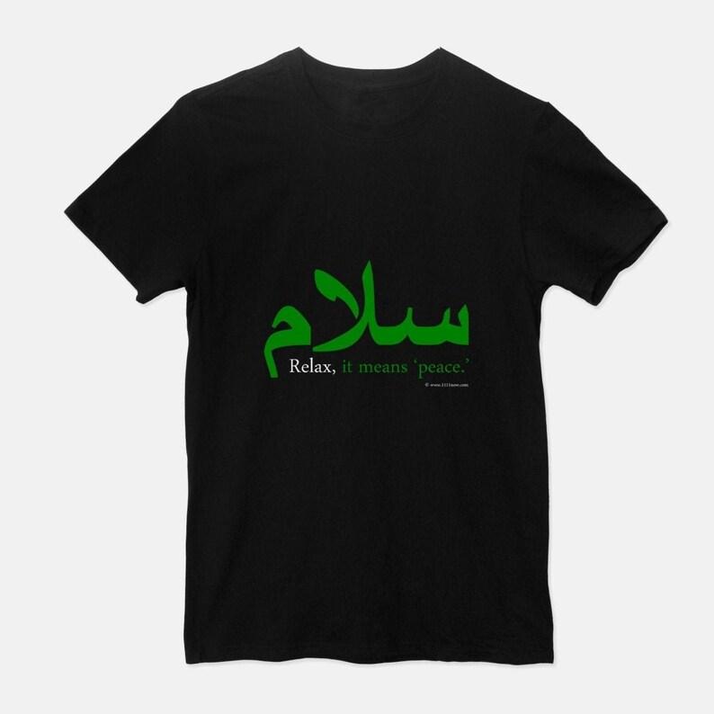Relax It Means 'Peace' Unisex T-Shirt Mens Womens Black