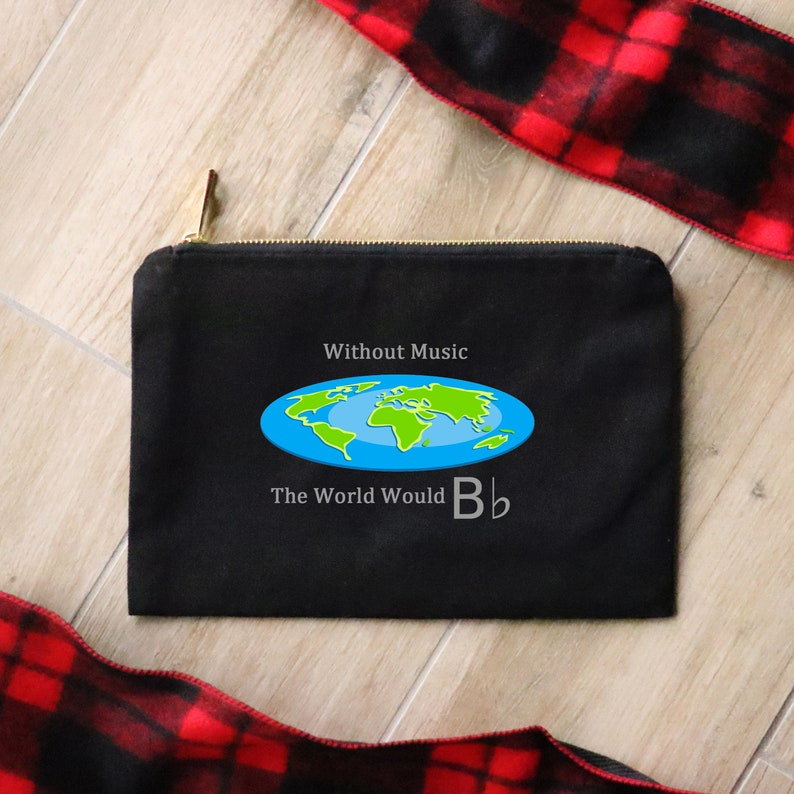 Without Music the World Would B Flat  Canvas Cotton Bag image 0