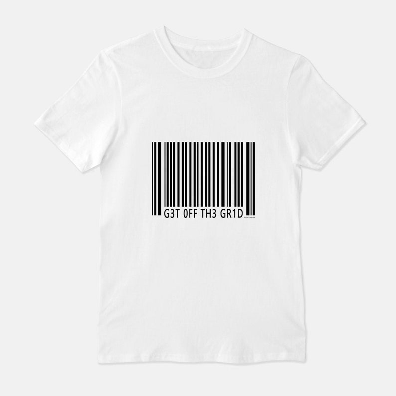 Get Off The Grid  Unisex T-Shirt Tee / Gray White Barcode White