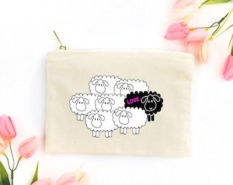 Black Sheep (Love) - Canvas Cotton Bag Beauty Make-Up Pencil Case Tote Zipper Funny Inspirational New Age Non-Conformist Rebel Gift
