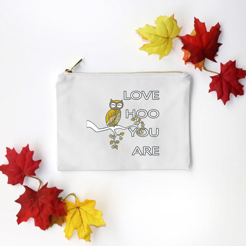 Love HOO You Are  Canvas Cotton Bag Owl Beauty Make-Up Pencil image 0