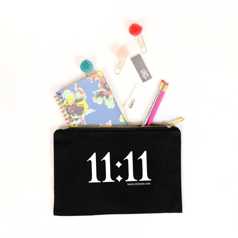11:11  Canvas Cotton Bag Cosmetics Beauty Make-Up Pencil Case image 0