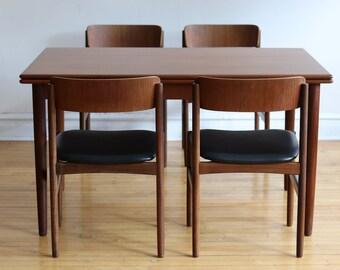 Mid Century Danish Modern Expanding Dining Set By Rosenstrup