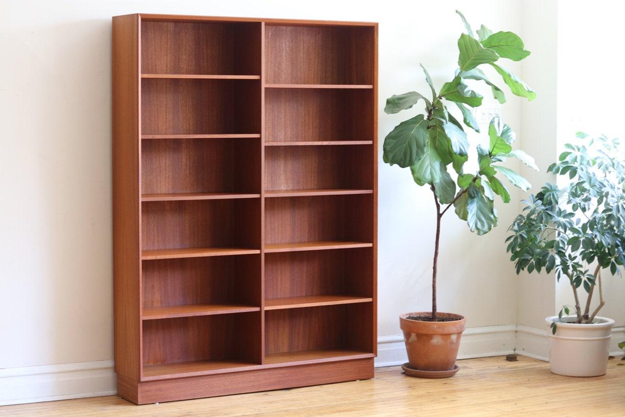 Mid Century Danish Modern Tall Teak Bookshelf