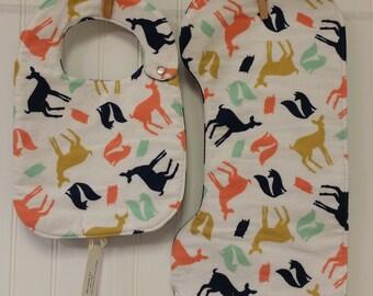 Baby Shower Gift, Baby Gift Set, Bib & Burp Cloth Set