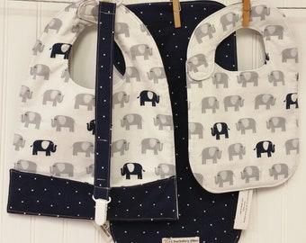 Baby Gift Set, Baby Shower Gift, Bib & Burp Cloth Set, Toddler Pocket Bib, Pacifier Leash