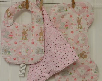 Baby Gift Set, Baby Shower Gift, Bib & Burp Cloth Set, Bandana Drool Bib, Baby Bunny Theme