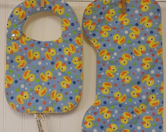 Baby Gift Set, Baby Shower Gift, Ducks Baby Theme, Bib & Burp Cloth Set