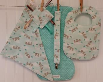 Baby Shower Gift, Baby Gift Set, Bib & Burp Cloth Set, Bandana Drool Bib, Pacifier Leash, Crinkle Toy
