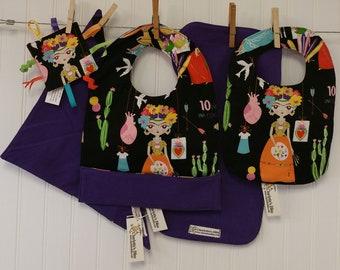 Baby Gift Set, Baby Shower Gift, Toddler Pocket Bib, Bib & Burp Cloth Set, Bandana Drool Bib, Crinkle Toy